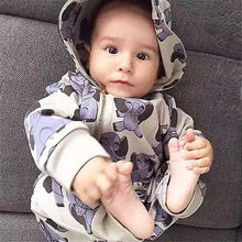 2016 Cartoon Baby Clothing Newborn Baby Boys Girls Kids Elephant Cotton Hooded Cotton Long Romper One-pieces Playsuit