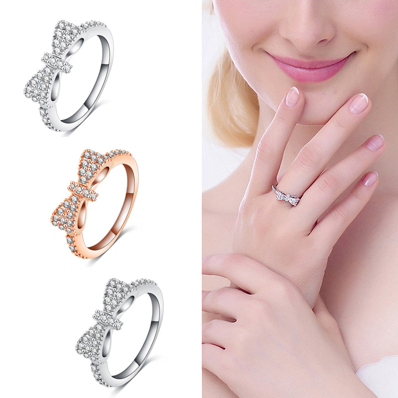 Sale 1PC Trendy Silvery White Full Crystal Bownot Rings Fashion Jewelry(China (Mainland))