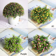 6 Pcs/Bunch Artificial Flower Plastic Plants for Home Arrangements Wedding Christmas Party DIY Desk Outdoor Decoration(China)