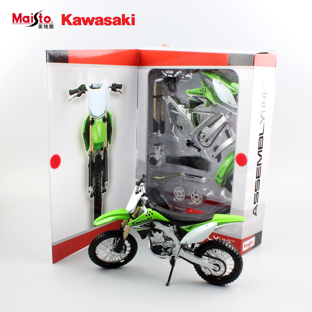 Kids Kawasaki KX 450F Assembly line auto motorcycle model metal diecast motocross sports cars engine gifts DIY toys for children(China (Mainland))