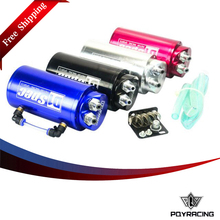 PQY RACING Free shipping- Universal 10mm D1 Engine Round Oil Catch Tank Can JDM BLACK,SILVER,RED,BLUE  PQY-TK82