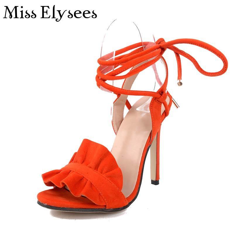 Brown Orange Women Sandals 2017 Summer High Heels Shoes Gladiator Sandals Women Cross Strap Fashion Thin Heels Sapato Feminino<br><br>Aliexpress
