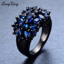 RongXing Cute Blue Cubic Zirconia Rings For Women Mother's Day Gift Vintage Black Gold Filled September Birthstone Ring RB0041