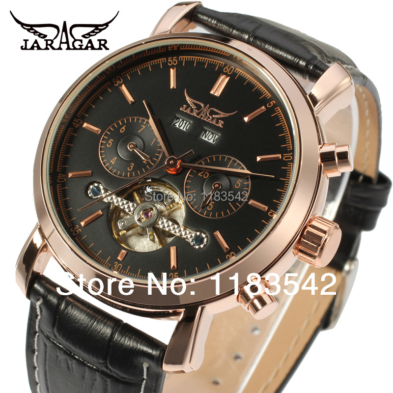 Top quality  Jargar new Automatic men tourbillon dress watch with black leather strap free shippingJAG540M3R1<br>