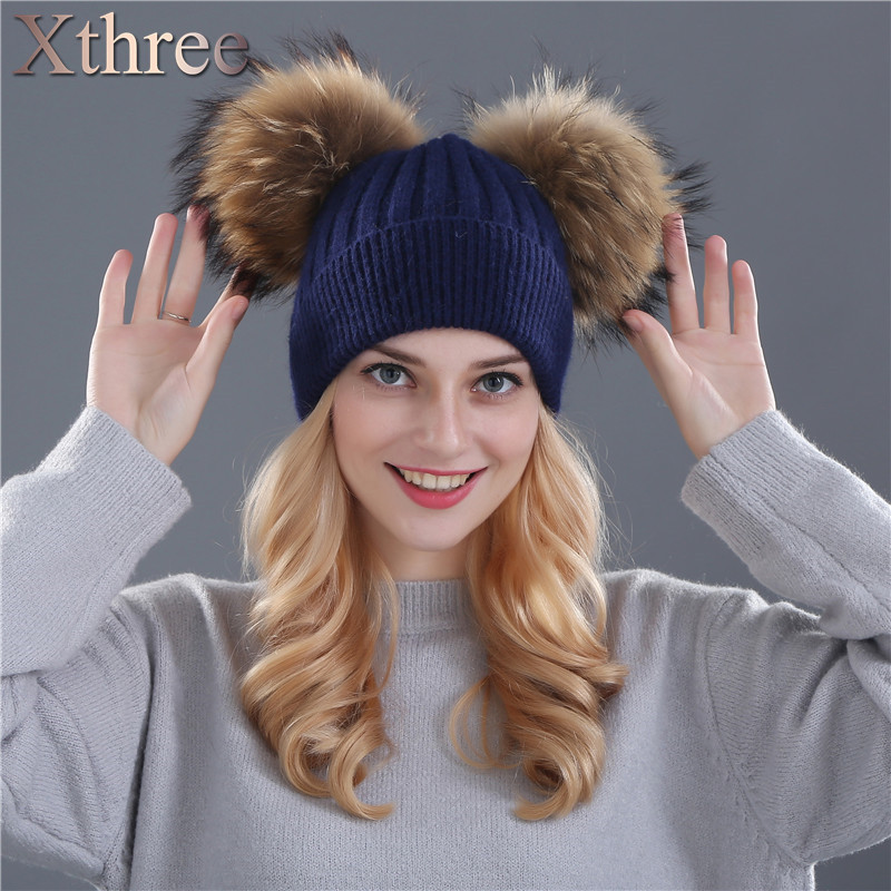 Xthree winter hat for women wool knitting beanies natural fur double pom poms Skullies girls hat femininoОдежда и ак�е��уары<br><br><br>Aliexpress