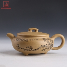 Chinese Teapot Set Hand Carving Zisha Tea Kettle Authentic Yixing Pot For Tea Ceremony Safe Packaging(China)