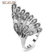 KCALOE With Opal Stone Rings For Women Unique Wings Design Vintage Jewelry Crystal Cubic Zirconia Ring Silver Plated Jewelry(China)