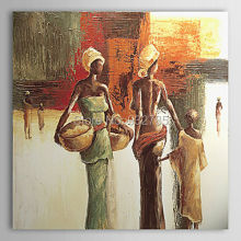 100%Handmade abstract African Mother & Child Portrait oil painting  on canvas,Free shipping