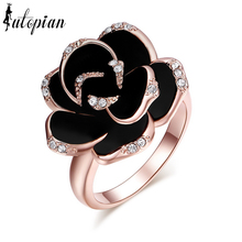 Iutopian Brand Jewlery  Genuine Austrian Crystal Black Rose Flower Ring With Austrian Crystal Stellux #RG91526