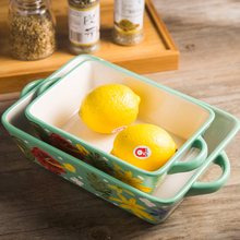 Original Design Creativity Hand-painted Ceramics Baking Pan Rectangle Binaural Baked Rice Tray Cheese Plate Baking Oven househol