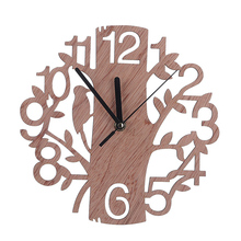 Creative 3D DIY Tree Shape Wooden Wall Clock Real Wall Watches Digital Needle Clock for Living Room Home Decorative