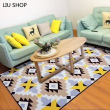LIU Simple modern fashion Nordic living room carpet bedroom bed full soft coral velvet rug rectangular sofa coffee table mat(China)