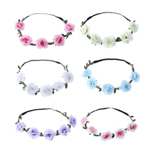 1Pc Fashion Women Hair Accessories Wedding Bride Floral Garland  Bohemian Flower Headband Festival Rose Flowers Hair Band
