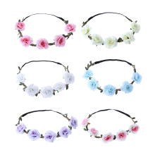 1Pc Fashion Women Hair Accessories Wedding Bride Floral Garland Bohemian Flower Headband Festival Rose Flowers Hair Band(China)