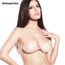 Sexy Silicone Seamless Sujetador Women Invisible Push Up Bra Self-Adhesive Front Closure Sticky Backless Strapless Bra A B C D