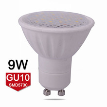 High Quality Lampada LED Lamp GU10 9W AC110V 220V LED Bulb SMD5730 Ceramic GU10 LED Spotlight Warm/Cold White Dimmable(China)