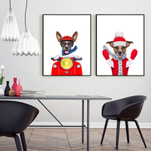 Fashion Funny Hip-hop style Cartoon Dog Wall Poster Canvas Art Print Painting Wall Pictures for Room Decoration Kid's room Decor