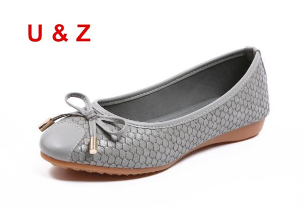 U&amp;Z Crocodile Grain leather Lovely Round toe flat shoes with lovely bow,Fashion NEW Red/Black/Grey leather ballet shoes loafers<br>
