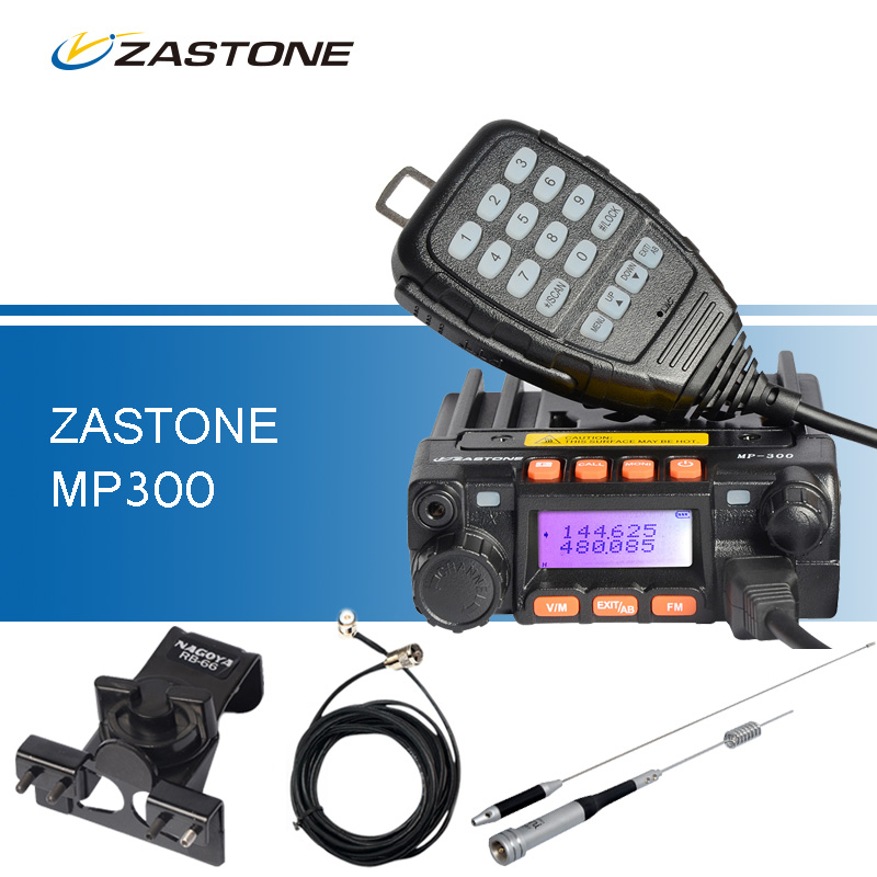 ZASTONE MP300 Car Walkie Talkie 10KM Mini Mobile Radio UHF VHF Transceiver Radio Set MP300+RB-66 Clip+SG-M507 Antenna+5M Cable(China (Mainland))