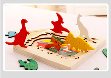 3 layers puzzle wooden multilayer three dimensional storyteller puzzle jigsaw picture cube fun 3D animal puzzle(China)