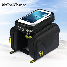 CoolChange Bike Bag 6.2 Inch Touch Screen Bicycle Bag Front Frame Top Cell Phone TPU Cycling Bag Double Pouch MTB Accessory(China)
