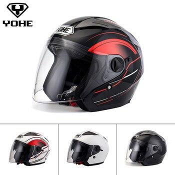 YOHE Casque Double Bouclier Unisexe Abs Shell 3/4 Open Face Casque Moto Casque Moto Ece Libération Rapide Système YH-868