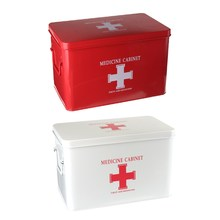Safurance Metal Medicine Cabinet Multi-layered Family Box First Aid Storage Box Storage Medical Gathering Emergency Kits