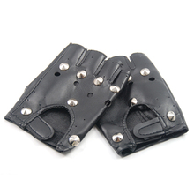 2017 NEW Unisex Cool BLACK Punk Rock Studded LEATHER LOOK FINGERLESS GLOVES FANCY(China)