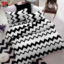 Sookie Brief Style 3 Pieces Queen Size Bedding Sets Zigzag Waves Printed Duvet Cover Set Pillowcases Full Size 230x230cm(China)