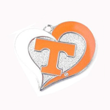 New Arrival rhodium plated Tennessee Vols Volunteers College sports team logo swirl heart charm Sport Jewelry Fans collection(China)
