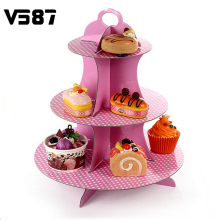 Round Dots Cupcake Display Stand Muffin Cake Cardboard Wedding Birthday Party Bakeware Cake Tools Two Colors 3 Tiers