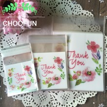 100pcs 3 Sizes Thank you Flower Pattern Self Adhesive DIY Cookie Plastic bags Wedding Candy and Snack Food Packaging Bags B158(China)