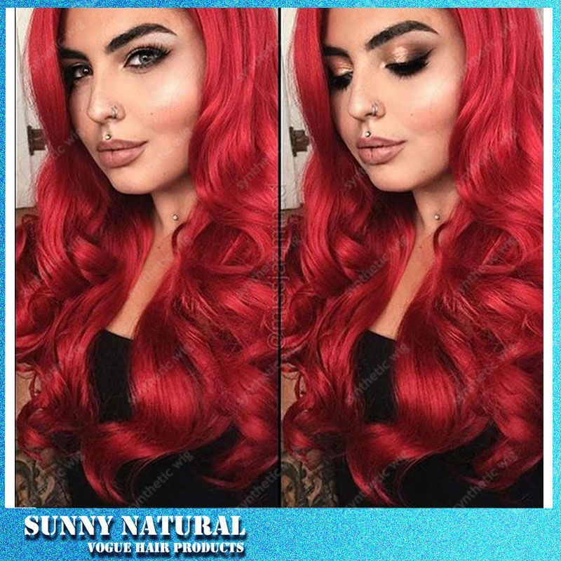 2017 Hot Sale Heat Resistant Lace Front Synthetic Wigs for Black Women Long Red Color Body Wave Synthetic Lace Front Wig<br><br>Aliexpress