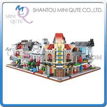 Full set 6 pc Mini Qute LOZ Streetscape Bank Theatre Cinema Pet Shop gift block building blocks cartoon figures educational toy - MINI QUTE PLASTIC BLOCKS & METAL PUZZLE WORLD store