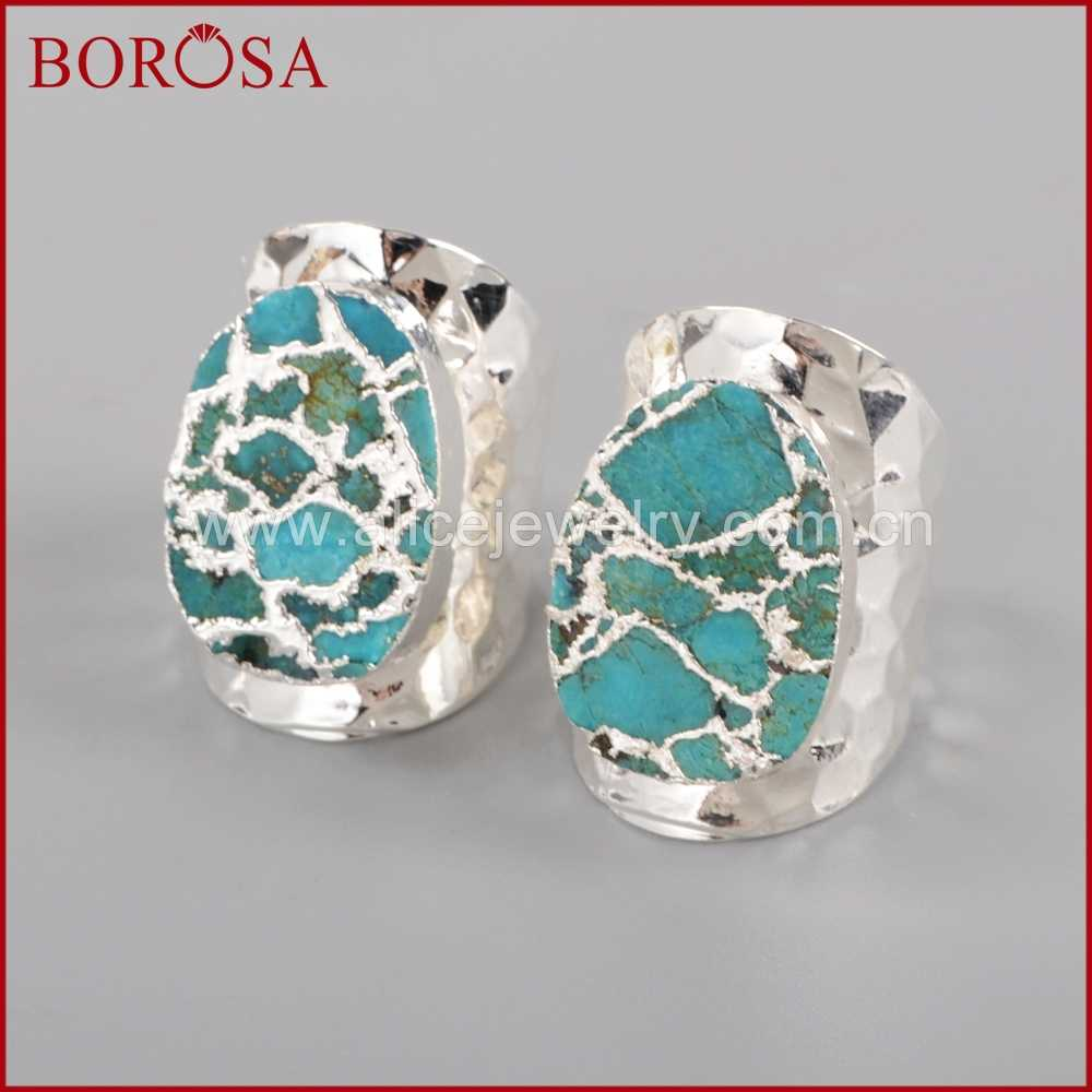 BOROSA Silver Electroplated 100% Natural Blue Howlite Stone Druzy Band  Ring 38dd3f4ceacc