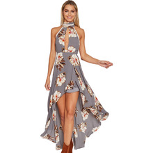 Halter Backless Long Maxi Dress Women 2017 Floral Printed High Low Chiffon Boho Dresses Sexy Hollow Cut Out Beach Dress