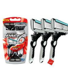 3 Pcs/lot Men Shaving Original DORCO Pace 6 Blades Razor for Men Shaver Razor Personal Stainless Steel Safety Razor Blades(China)