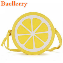 Baellerry Women Handbag Creative Round Lemon Pattern Crossbody Bag Women Messenger Bag Purse Clutches Ladies Shoulder Mini Bags(China)