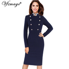 Vfemage Women Autumn Winter Long Sleeve Navy Blue Stand Collar Double-Breasted Button Business Work Bodycon Pencil Dress 6172