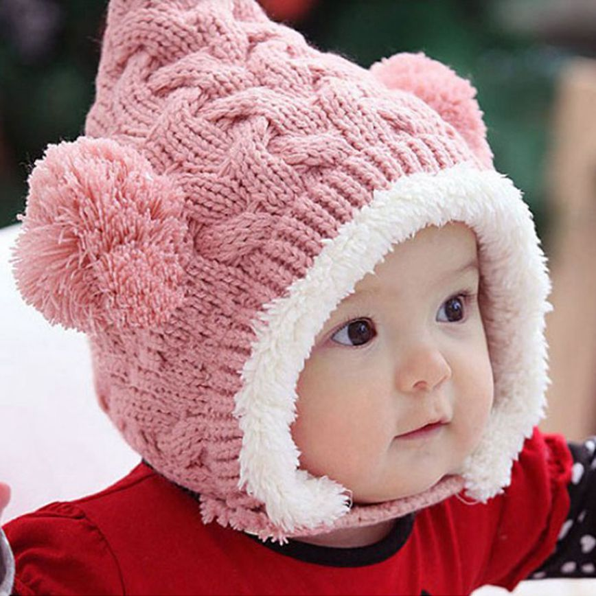 Excellent Lovely Knitting Wool Winter Hat Kid Baby Cute Dual Balls Girl Boys Keep Warm Beanie Unisex Cap Hat(China)