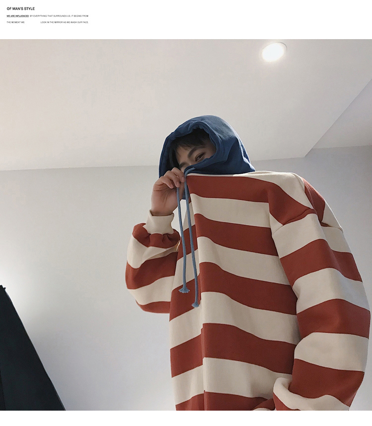 2018 Newest Men's Fashion Trend Stripe Pullovers Hooded Hoodies Cotton Loose Casual Hip Hop Style Sweatshirts Coats Size M-XL