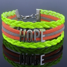 HOPE bracelet Antique Silver plated Alloy HOPE Alphabet Charm Bracelet Korea Cashmere Leather Bracelet bangle XY160120