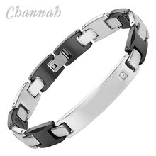 Channah 2017 Unisex Shiny Stainless Steel Crystal Ceramic Silver Black Bracelet Wristband Charm Jewelry Germanium Bangle