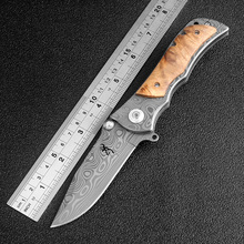 KKWOLF Pocket Folding Knife Damascus Pattern Blade Wood Handle Outdoor Survival Combat Tactical Knife Titanium Camping EDC Tools