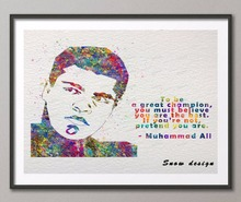Original watercolor Muhammad Ali Quote poster print pictures Abstract wall art canvas painting Kids room decoration wall sticker(China)