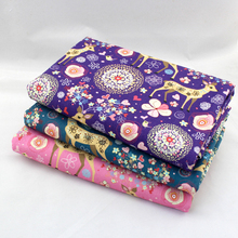 3 Pieces/lot High Quality Flowering Deer Digital Printing Felt Cotton Fabric Textile Fabric For DIY Sewing Crafts 50cmx70cm(China)