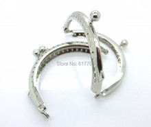 "Free Shipping-2PCs Silver Tone Bead Purse Bag Metal Frame Kiss Clasp Lock Handle 8.5x6cm(3 3/8""x2 3/8"") J2599"