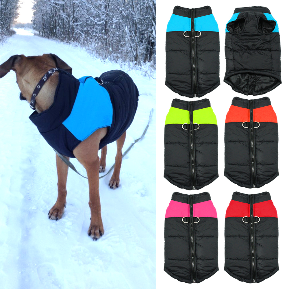 Image Waterproof Pet Dog Puppy Vest Jacket Warm Quilted Padded Puffer Winter Dog Clothes Coat For Small Medium Dogs 4 Colors S M L XL