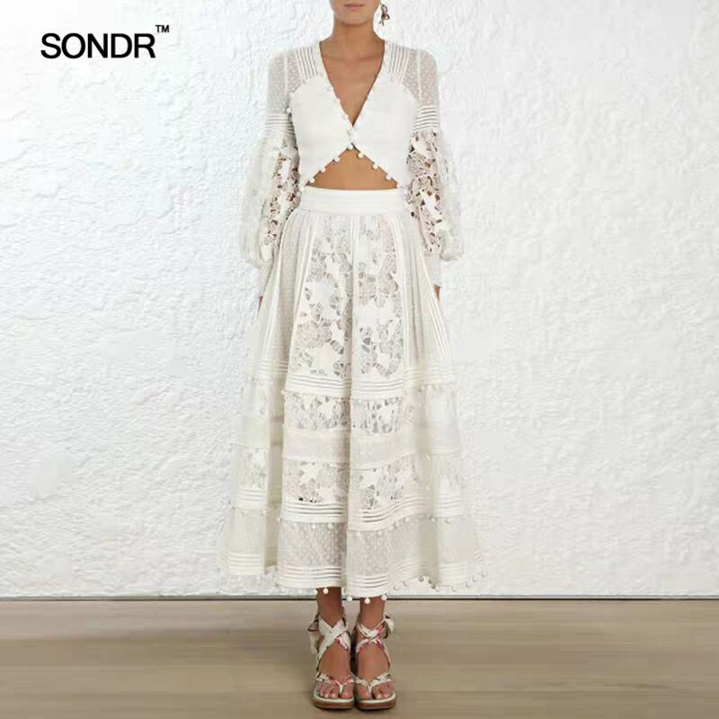 SONDR  Hollow Out Sexy Women's Dresses V Neck High Waist Lantern Sleeve Patchwork Hair Ball Lace Dress Female 2019 Spring