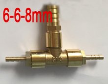 8mm to 6mm x 6mm Brass reducing Barb fitting coupling tee joint reduce nipple three way hose coupler different diameter